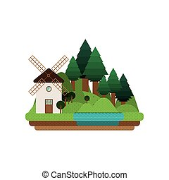 landscape forest background with windmill design