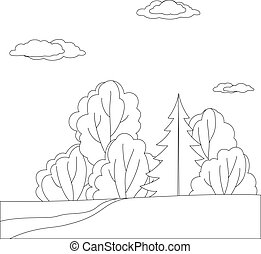 Landscape, forest, contours - Vector, landscape: forest with...