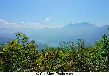 landscape forest, mountains, river