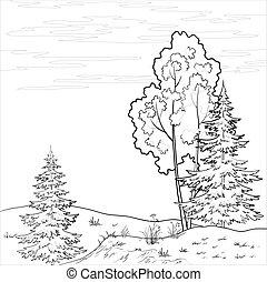 Landscape. Forest river, outline - Vector, landscape:...