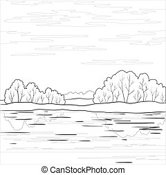 Landscape. Forest river, outline - Vector, landscape:...