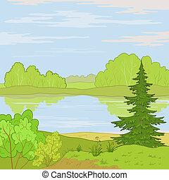 Landscape. Forest river - summer landscape: forest, river ...