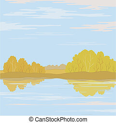 Landscape. Forest river - Vector, autumn landscape: forest,...