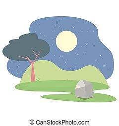 landscape forest trees botanical icon vector ilustration