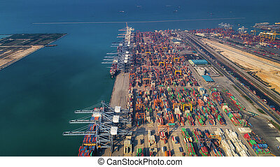 Landscape from bird eye view for Laem chabang logistic port
