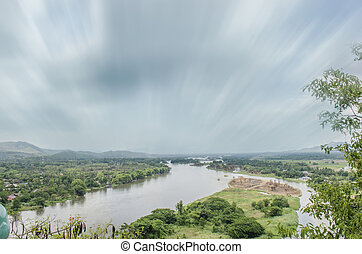 Landscape from Hill Beside River, Moving Cloud, Trees -...