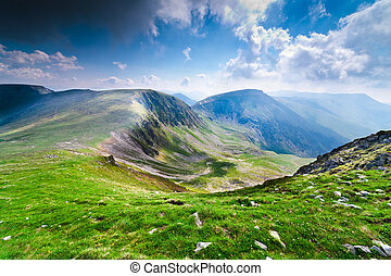 Landscape with Iezer and Urdele peaks of Parang mountains in Romania, in summer
