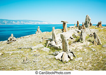 Landscape from stones lake Baikal