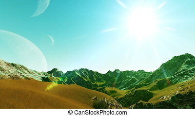 Landscape futuristic planet with three moons