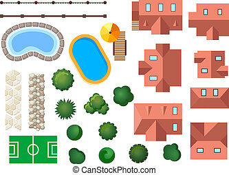 Landscape, garden and architectural elements with houses,...