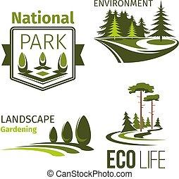 Landscape gardening and ecology symbol set