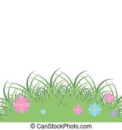 landscape, gras, met, bloemen