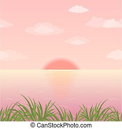 Landscape, grass and sunrise on the sea