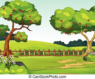 Landscape Grass Field Hill With Trees Cartoon Vector Illustration