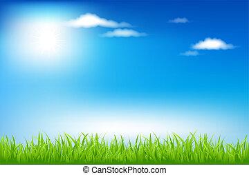 Landscape - Green Field And Blue Sky, Vector Illustration