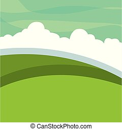 landscape green meadow clouds
