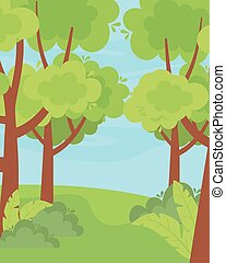 landscape greenery trees bushes grass nature sky
