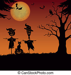landscape, halloween, scarecrows, pompoen