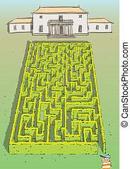 Landscape Hedge Maze Game for children. Hand drawn illustration in eps10 vector mode. Task: find the way to palace! Answer is in hidden layer in eps file!