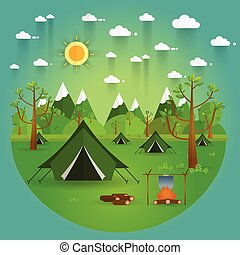 landscape. Hiking and camping. Vector flat illustration