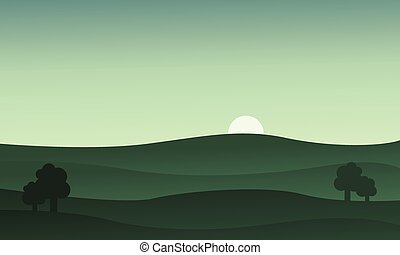 Landscape hills at the sunset vector