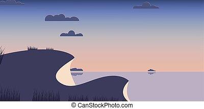 Landscape hills blue sea background. Vector