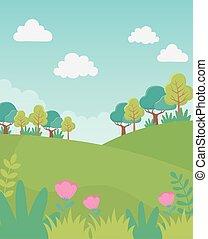 landscape hills trees flowers sky foliage nature greenery image