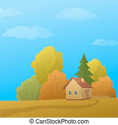 Landscape, House in Autumn Forest, Low Poly - Landscape,...