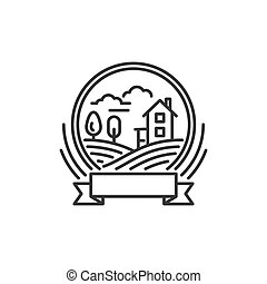 Landscape Icon. Hill with Home and Trees. Line Style Design Logo. Vector