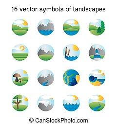 landscape, iconen, collection., natuur, symdols