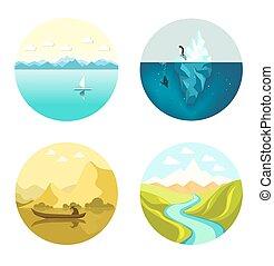 Landscape icons vector flat set isolated on white background