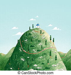 Landscape illustration with a church on a hill