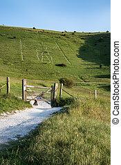 Landscape image of ancient chalk carving in hillside Long ...