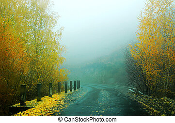 Landscape in a Foggy Autumn Morning