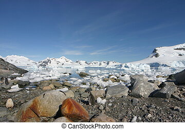 Landscape in Antarctica on a nearly cloudless day