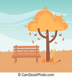 landscape in autumn nature scene, bench park falling leaves tree