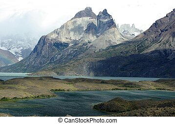 Landscape in the Torres del Paine national park in Patagonia, in Chile
