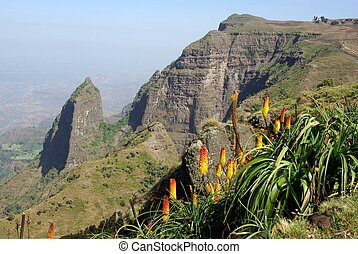Landscape in the Simien mountains in Ethiopia, Africa