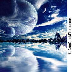 Landscape in fantasy planet