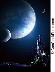 Landscape in fantasy planet - Collage - landscape in fantasy...