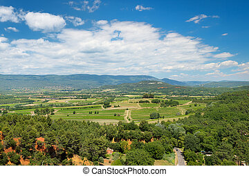 Landscape in French Luberon with clouds in summer
