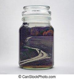 Landscape in jar, double exposure