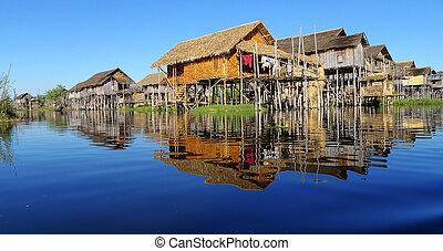 Landscape in Myanmar - Landscape of wooden houses built in...