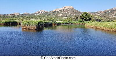 Landscape in Ostriconi beach, Corsica, France
