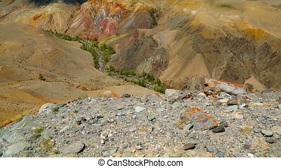 Landscape in the Altai Mountains, tilt view - Landscape with...