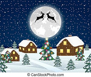 Landscape in the Christmas night