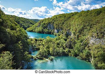 Landscape in the Plitvice Lakes in Croatia.