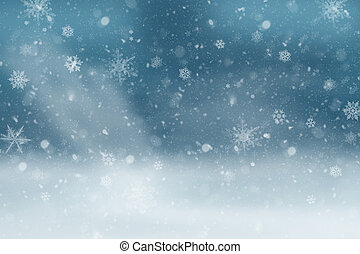 Landscape in the snow: Blue Winter Background