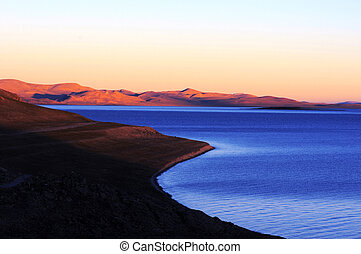 Landscape in Tibet - Landscape of mountains and lakes in the...
