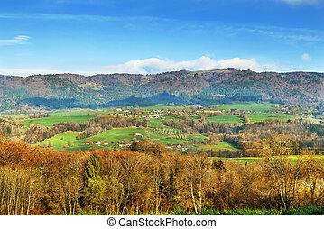 Landscape in string in Upper Savoy, France